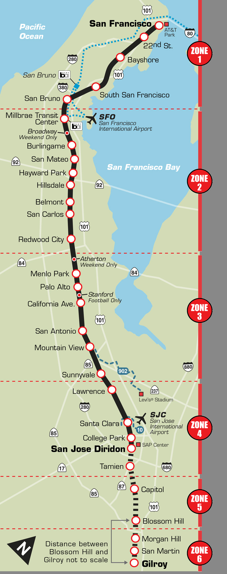 san francisco california  boothe transit - caltrain route map