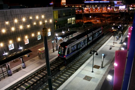 Lynx Light Rail night scene  Photographer: Justin Ruckman Source: Flickr https://www.flickr.com/photos/hieronymus/2165885978 Used under Creative Commons license 2.0 https://creativecommons.org/licenses/by/2.0/ (Please do not redistribute without maintaining attribution)