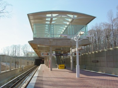 WMATA Blue Line Extension - Morgan Boulevard station  Photographer: Ben Schumin Source: Wikimedia Commons http://commons.wikimedia.org/wiki/File:Morgan_Boulevard_Station.jpg Used under Creative Commons license 3.0 https://creativecommons.org/licenses/by/3.0/ (Please do not redistribute without maintaining attribution)